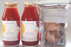 オーガニックフルーツトマトのジュースと黒ニンニクの限定セット