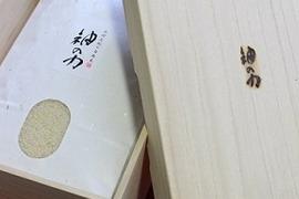 【贈答用】2018年産「神の力」桐箱・風呂敷包み玄米5kg(コシヒカリ)