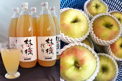 5品種ブレンドりんごジュース 2本 &トキ3㎏ セット【9月下旬出荷】