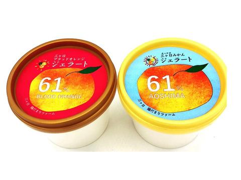 果汁たっぷりでしっとりとした食感♪ 陽だまりファーム 三ヶ日みかんジェラート3個 ブラッドオレンジジェラート3個 6個入り 果汁61%使用!