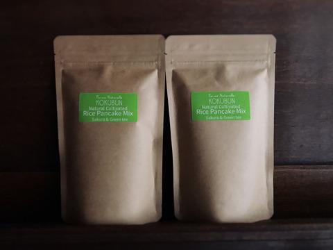【季節限定】自然栽培米粉のパンケーキミックス SAKURA&Green tea 2袋セット