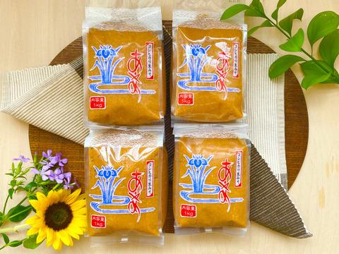 【珍しい!生味噌4個セット】酵母が生きてる♪新潟県高田農園産の『自家製の糀』で作った『なま味噌』(4kg)
