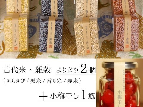 【無農薬・無肥料 自然栽培 天日干し】古代米・雑穀よりどり2個+小梅干し1瓶のセット