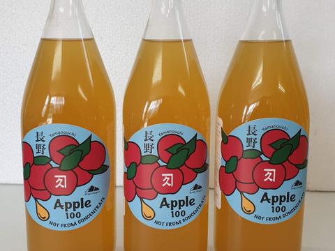 【信州】サンふじ3本セット 完全無添加りんご果汁100%ストレートジュース