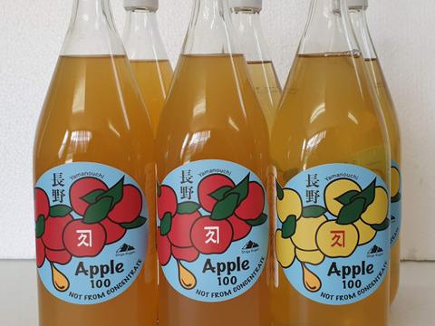 【信州】飲み比べ6本セット 完全無添加りんご果汁100%ストレートジュース サンふじ3本&シナノゴールド3本