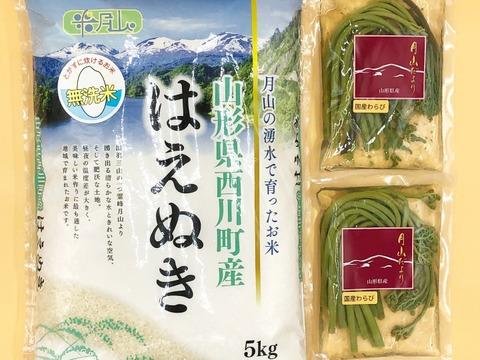 【山形県産 月山の湧水で育ったお米  はえぬき】精米 無洗米 特A米5kg 2020年産 新米&【美味しい山菜 わらび水煮】100gx2 2袋セットです♪♪