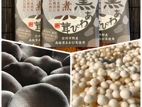 【3種セット】特選・黒あわび茸+えのき茸+佃煮セット(各8個)