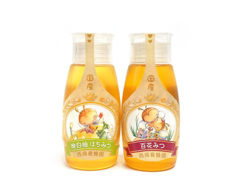 【お得な2本セット】「蜂蜜専用チューブ」 ☆〈500ℊ×2本〉純粋国産晩白柚・百花