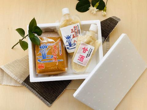 ☆新潟県産のお米と大豆100%☆『生味噌』『塩麹(三五八)』『甘酒』高田農園の3品セット♪
