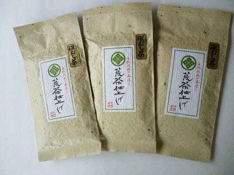 配達時間指定 静岡(森町産)深蒸し煎茶【荒茶仕上げ】100g×3本