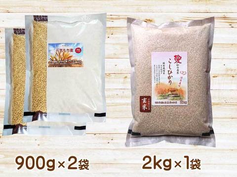 お得な腸活セット コシヒカリ玄米2kg×1 もち麦キラリモチ900g×2 令和2年愛知県産 農薬・化学肥料不使用