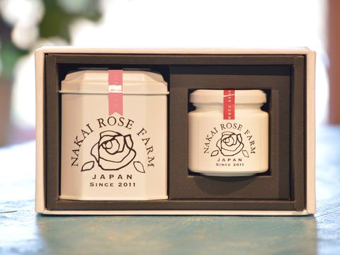 【贈答】甘く華やかな香り♪薔薇づくしのティータイムギフト(ローズリーフ缶5包スプリング+ローズコンフィチュール90g)