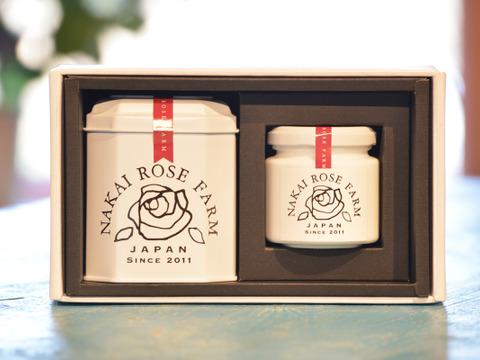 【贈答】薔薇づくしのティータイムギフト【熨斗付き】ローズティー(ローズリーフ)とローズコンフィチュール(1.5g×5包入缶₊1瓶)