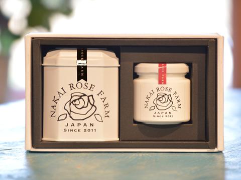 【贈答】後味すっきり葉の香り♪薔薇づくしのティータイムギフト(ローズリーフ缶5包葉+ローズコンフィチュール90g)