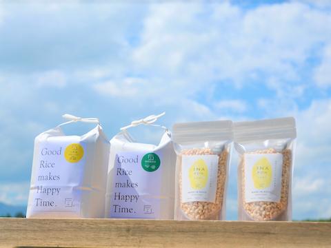 NEW!「お米(自然米2kg、特別栽培米2kg)」「米粉」「イナポン2袋」のコミコミセット