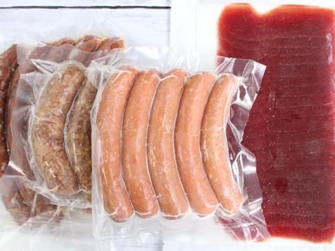 【セット: 生ハム2pc&ソーセージ3種2pcずつ】赤身肉の女王の加工品セット【ダチョウ肉】