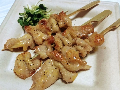 比内地鶏の首皮の串3本×2セット/真空冷凍【プリプリ食感】