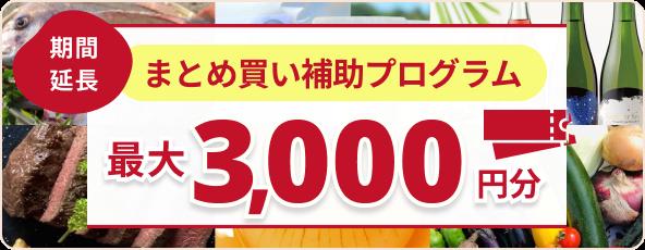 最大3,000円分クーポンをお届け!「まとめ買い補助プログラム」が延長決定。