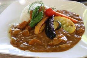鴨さんの素揚げ野菜カレーライスセット
