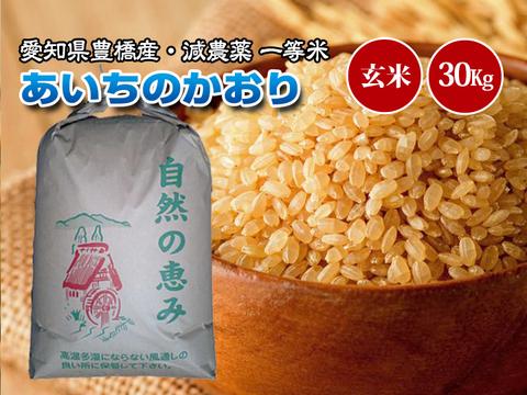 【減農薬・一等米】愛知県産 あいちのかおり 玄米30g(10㎏×3袋)
