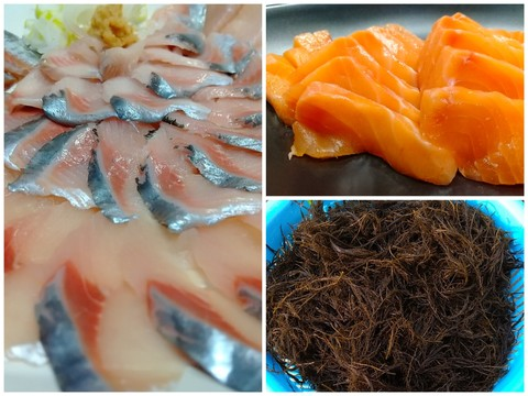 【初回限定BOX】漁師が太鼓判!ニシンとサクラマスの刺身とレア海藻マツモのセット/3パック(急速冷凍)