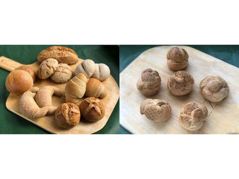 【超貴重な有機JAS認証パン】パンセット④+Sweets③:麦の栽培から一貫生産 自然栽培小麦のみ使用したパンセット+シュークリーム×6