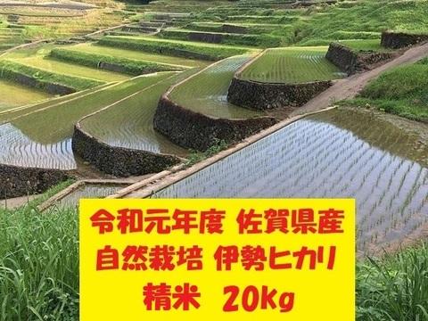 【令和元年新米】無農薬!自然栽培!佐賀県産!「伊勢ヒカリ」精米20kg