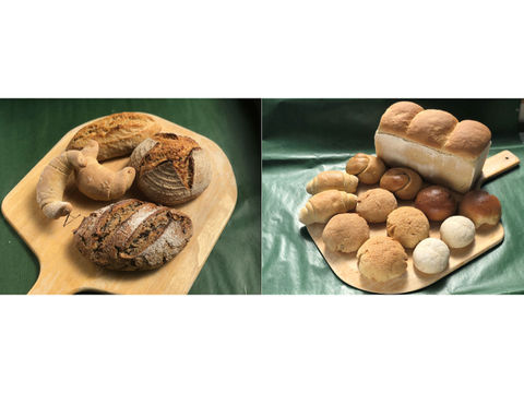 【超貴重な有機JAS認証パン】パンセット③+⑰:麦の栽培から一貫生産 自然栽培小麦のみ使用したハード系パンセット + ソフト系パンセット