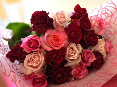 🌹誕生日や結婚記念日におすすめ!厳選バラ20本の花束ちょこっとラッピング【赤ピンクMIX】