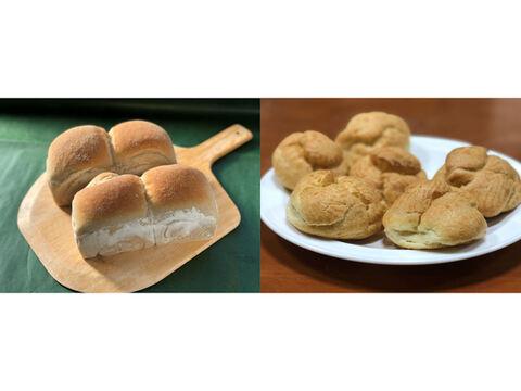 【超貴重な有機JAS認証パン】パンセット⑩+Sweets③:麦の栽培から一貫生産 自然栽培小麦のみ使用した有機JAS対応パンドミー2個+食べる人の健康を考えた有機JAS対応シュークリーム×6
