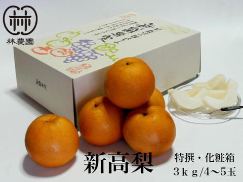 食べ応えの大玉品種!特選 新高梨 化粧箱入約3kg(4~5玉) 【熨斗対応】ギフト