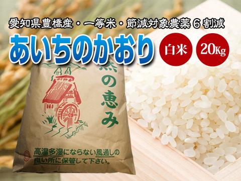 【節減対象農薬6割減・一等米】あいちのかおり 白米20g(10kg×2袋)【令和2年・愛知県産】