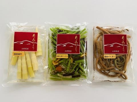 「山形県産 美味しい山菜 細竹・山菜ミックス・ぜんまい水煮」3点セット