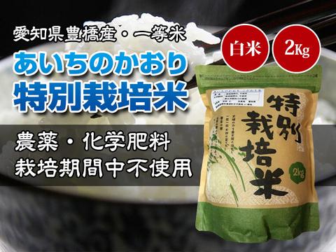 【栽培期間中農薬不使用・一等米】あいちのかおり 白米2kg【令和2年・愛知県産】