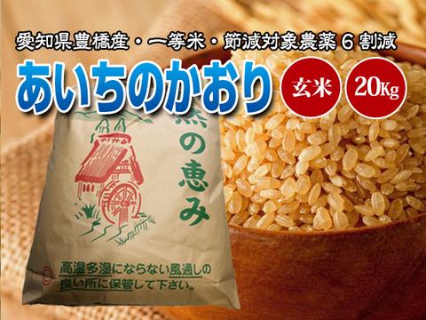 【節減対象農薬6割減・一等米】あいちのかおり 玄米20g(10kg×2袋)【令和2年・愛知県産】