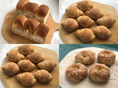 【超貴重な有機JAS認証パン】パンセット⑥×2+⑨+⑳:麦の栽培から一貫生産 自然栽培小麦のみ使用したテーブルロール×16+食パン2個+チーズベーグル4個