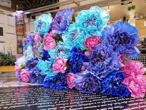 青いカーネーション花束【MIX25本】